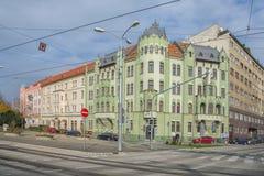 斯洛伐克,布拉索夫- 2017年方形11月5日的Safarikovo,从奥匈帝国帝国的大厦 免版税库存照片