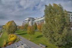 斯洛伐克,布拉索夫- 2017年有现代建筑学的11月5日,多瑙河 免版税库存照片