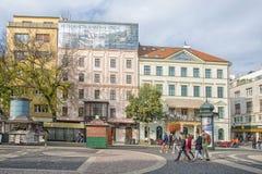 斯洛伐克,布拉索夫- 2017年11月5日,从奥匈帝国帝国的大厦在老镇 免版税库存照片