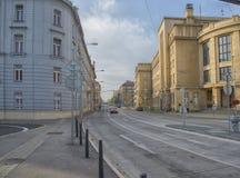 斯洛伐克,布拉索夫- 2017年11月5日,夸美纽斯大学在老镇 库存图片