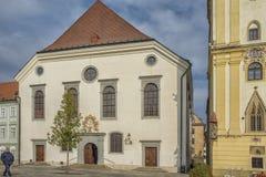 斯洛伐克,布拉索夫- 2017 11月5日,历史的老镇,从奥匈帝国帝国的大厦 大广场 免版税库存图片