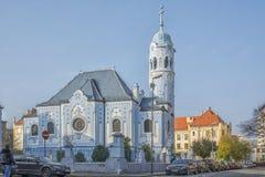 斯洛伐克,布拉索夫- 2017 11月5日,历史的老镇,从奥匈帝国帝国的大厦 蓝色教会 图库摄影