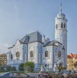 斯洛伐克,布拉索夫- 2017 11月5日,历史的老镇,从奥匈帝国帝国的大厦 蓝色教会 库存图片