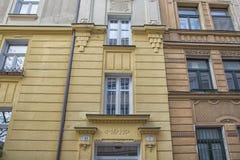 斯洛伐克,布拉索夫- 2017 11月5日,历史的老镇,从奥匈帝国帝国的大厦 免版税库存照片