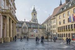 斯洛伐克,布拉索夫- 2017 11月5日,历史的老镇,从奥匈帝国帝国的大厦 免版税图库摄影