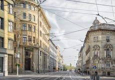 斯洛伐克,布拉索夫- 2017 11月5日,历史的老镇,从奥匈帝国帝国的大厦 库存图片