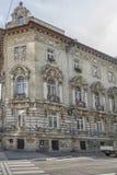 斯洛伐克,布拉索夫- 2017 11月5日,历史的老镇,从奥匈帝国帝国的大厦 免版税库存图片