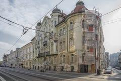 斯洛伐克,布拉索夫- 2017 11月5日,历史的老镇,从奥匈帝国帝国的大厦 图库摄影