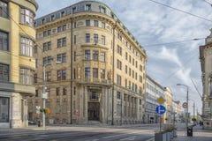 斯洛伐克,布拉索夫- 2017 11月5日,历史的老镇,从奥匈帝国帝国的大厦 库存照片