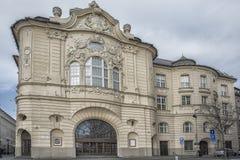斯洛伐克,布拉索夫- 2017 11月5日,历史的老镇,从奥匈帝国帝国的大厦 reduta从1913年 库存照片