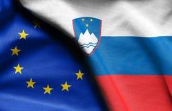 斯洛文尼亚和欧盟旗子  库存图片