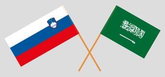 斯洛文尼亚和沙特阿拉伯王国 斯洛文尼亚人和KSA旗子 E r ?? 皇族释放例证