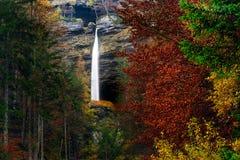 斯洛文尼亚风景,自然,秋天场面,自然,瀑布,山 库存照片