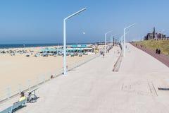 斯海弗宁恩,海牙, Netherlan沿海散步和码头  库存照片