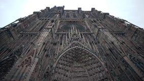 斯特拉斯堡主教座堂特写镜头,联合国科教文组织世界遗产名录站点门面  股票视频