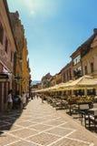 斯特拉达Republicii共和国街道标示用咖啡馆和餐馆 库存图片