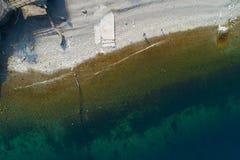 斯特雷萨鸟瞰图湖的Maggiore,意大利 免版税库存照片