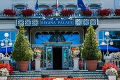 斯特雷萨,意大利- 2016年7月14日 在雷日纳华园大饭店, Maggiore湖的一个镇的斯特雷萨视图 库存照片