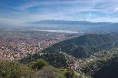 斯特鲁米察,马其顿-全景-看法从上面 免版税库存图片