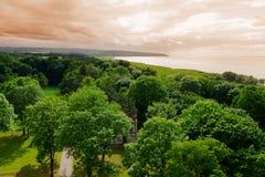 维斯瓦河盐水湖的鸟瞰图 免版税库存照片