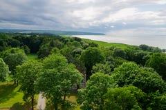 维斯瓦河盐水湖的鸟瞰图 免版税库存图片