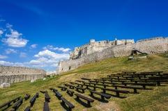 斯皮城堡在斯洛伐克 库存照片