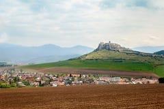 斯皮城堡的看法在斯洛伐克 库存照片