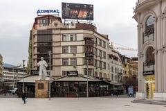 斯科普里市中心和亚历山大大帝广场,马其顿 免版税库存图片