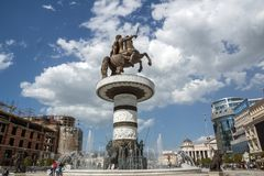 斯科普里市中心和亚历山大大帝纪念碑,马其顿 免版税图库摄影