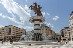 斯科普里市中心和亚历山大大帝纪念碑,马其顿 免版税库存图片