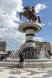 斯科普里市中心和亚历山大大帝纪念碑,马其顿 库存照片