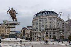 斯科普里市中心和亚历山大大帝纪念碑,马其顿 库存图片