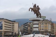 斯科普里市中心和亚历山大大帝纪念碑,马其顿 免版税库存照片