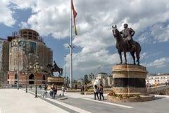 斯科普里市中心和戈采代尔切夫纪念碑,马其顿 免版税库存图片