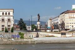 斯科普里市中心和考古学博物馆和老石桥梁,马塞多共和国 库存图片