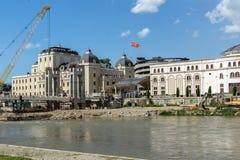 斯科普里市中心和考古学博物馆和老石桥梁,马塞多共和国 免版税图库摄影