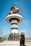 斯科普里,马其顿亚历山大帝街市雕象( 库存图片