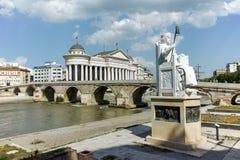 斯科普里,马其顿共和国- 2017年5月13日:拜占庭式的皇帝查士丁尼一世和考古学博物馆的雕象 库存照片