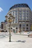斯科普里,马其顿共和国- 2017年5月13日:斯科普里市中心和亚历山大大帝广场 库存图片