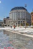 斯科普里,马其顿共和国- 2017年5月13日:斯科普里市中心和亚历山大大帝广场 免版税图库摄影
