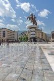 斯科普里,马其顿共和国- 2017年5月13日:斯科普里市中心和亚历山大大帝纪念碑 图库摄影