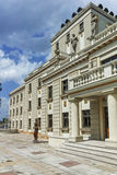 斯科普里,马其顿共和国- 2017年5月13日:马其顿国家戏院在市斯科普里 库存图片