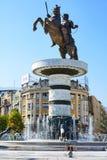 斯科普里,马其顿- 2017年10月12日:亚历山大大帝雕象 图库摄影