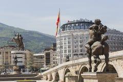 斯科普里,马其顿- 2016年4月14日:亚历山大大帝雕象  库存图片