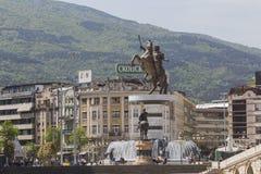 斯科普里,马其顿- 2016年4月14日:亚历山大大帝雕象  免版税库存图片