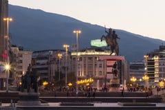 斯科普里,马其顿- 2015年10月24日:在斯科普里` s大广场的亚历山大大帝雕象 库存图片