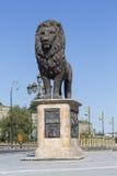 斯科普里,马其顿- 2016年4月14日:在wester的狮子雕塑 库存照片