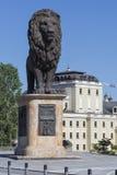 斯科普里,马其顿- 2016年4月14日:在wester的狮子雕塑 免版税图库摄影