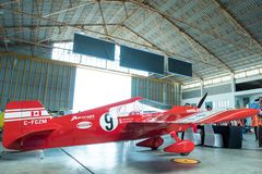 斯科特Holmess没有` s的飞机 9个`违法的`航空器塑造在空气种族1世界杯泰国的Cassutt III-M 2017年在U-Tapao海军空军基地 库存照片