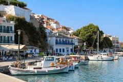 斯科派洛斯岛,希腊港口  库存照片